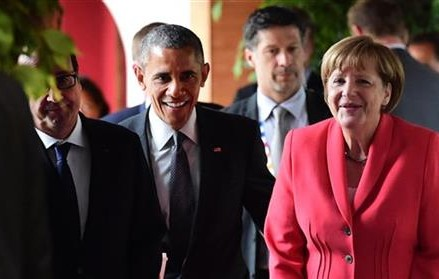 THE LATEST: Obama says G-7 studying more sanctions on Russia