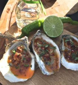 spicy grilled tequila oysters, linkie marias