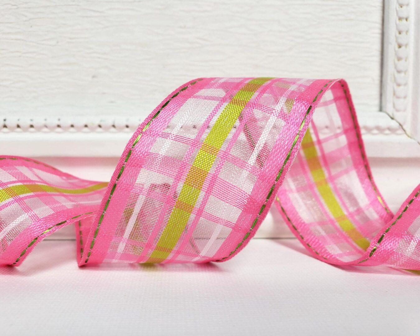 calix pink green semi sheer stripe plaid 9 ol-009