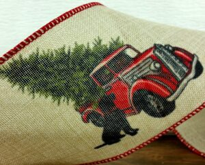 """d stevens 09 2422 Christmas Tree Dog and Truck 4"""" wide 10 yard roll"""