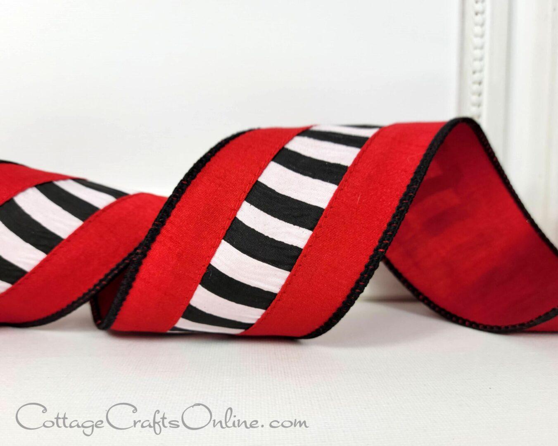 Sharlene red white black stripe dupioni ol 40 christmas-005