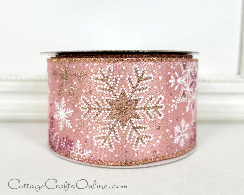 pink snowflake gold glitter ol 40-010