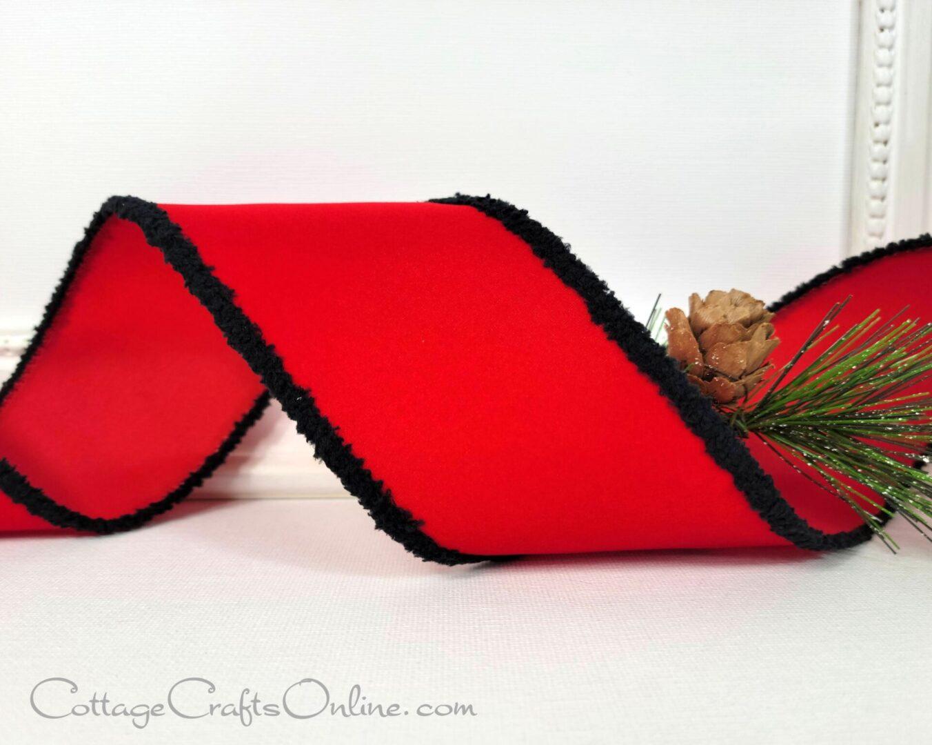 red velvet black chenille fuzzy edge 40 cb rg 0 189 302-005