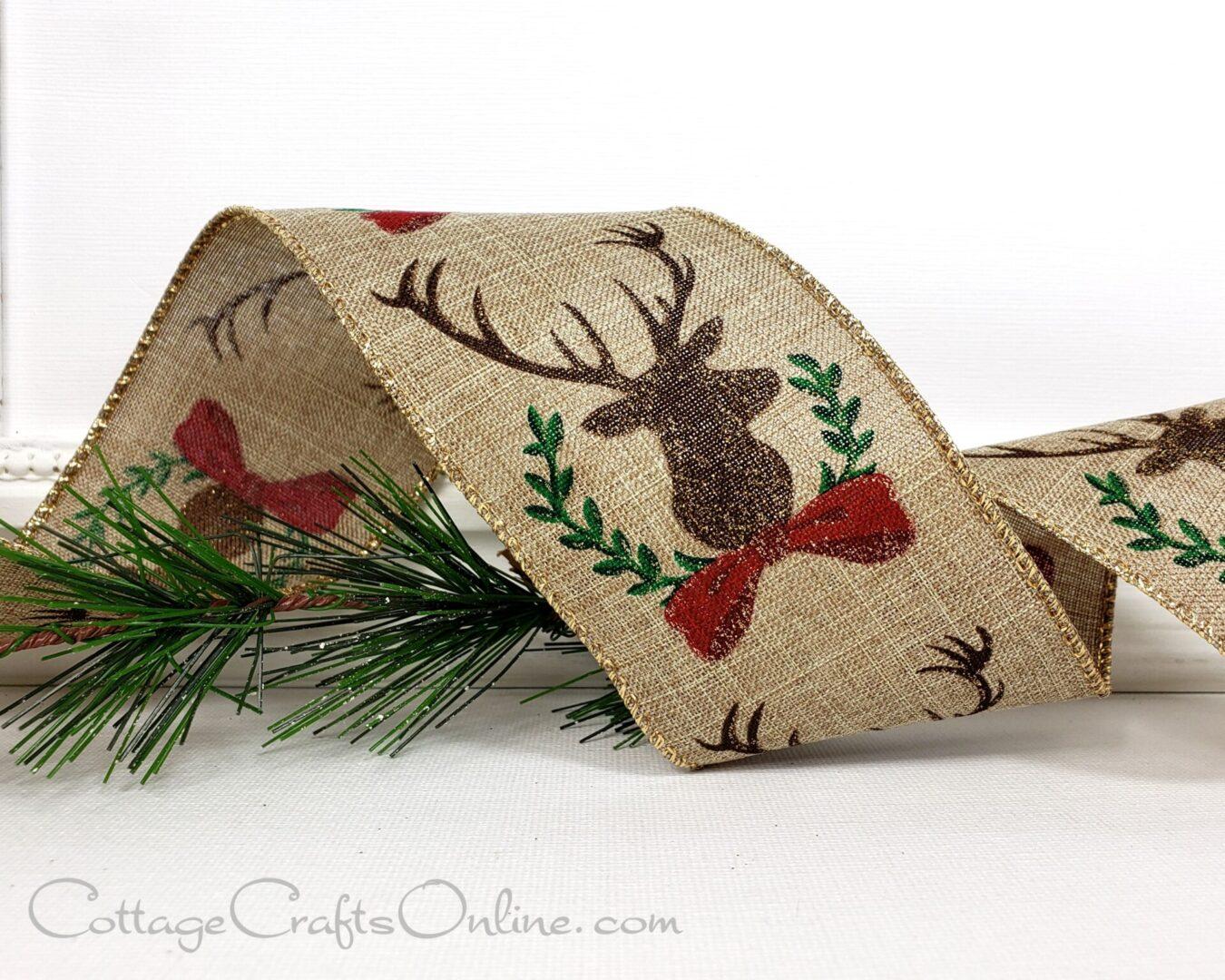 stag deer head laurel red brown green ds 40-012