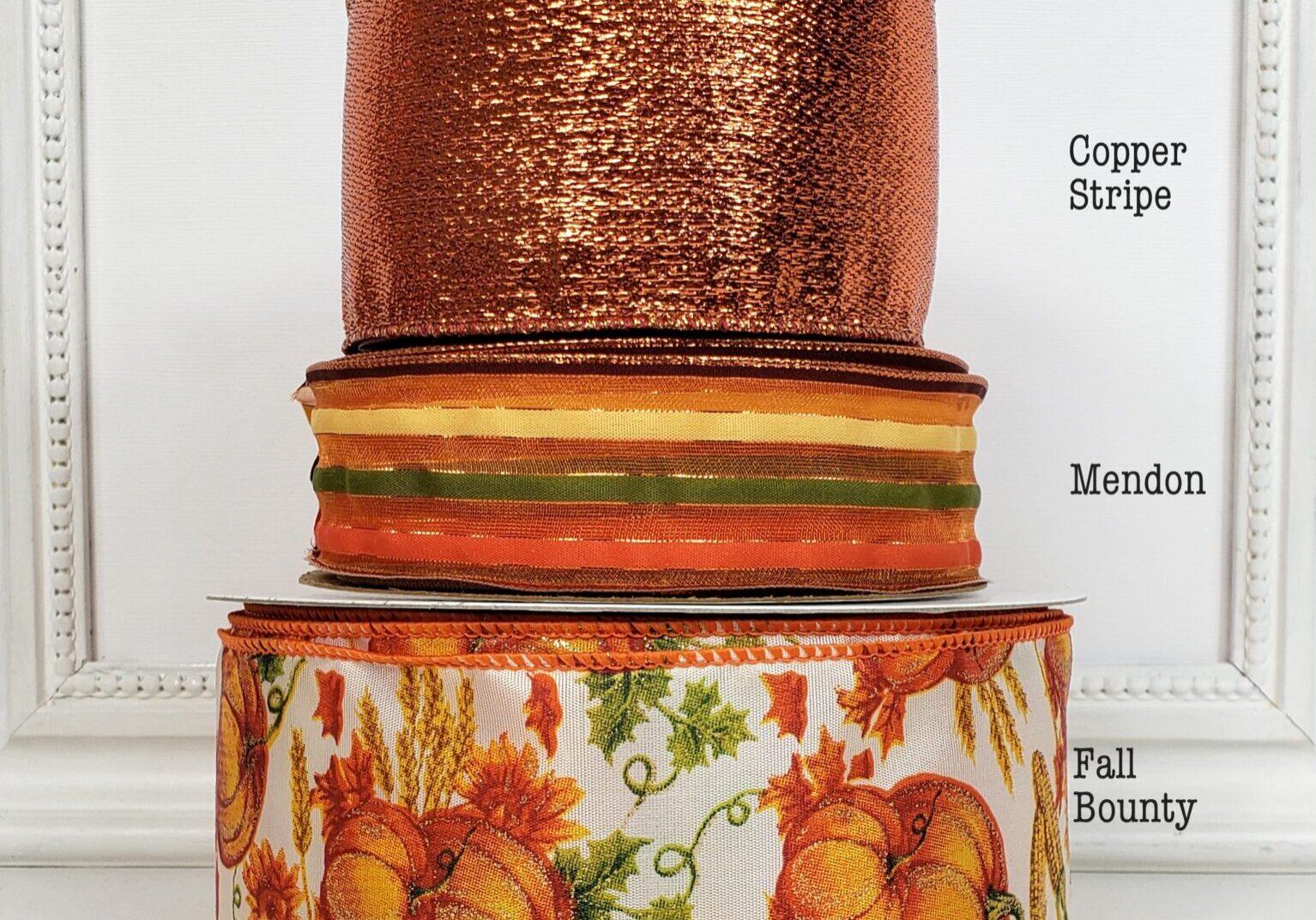 combo ol fall stripe brown yellow orange green sheer 9 copper metallic pumpkin field 40-004