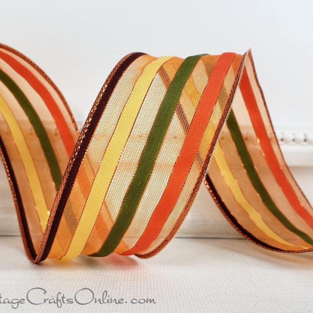ol fall stripe brown yellow orange green sheer 9-009