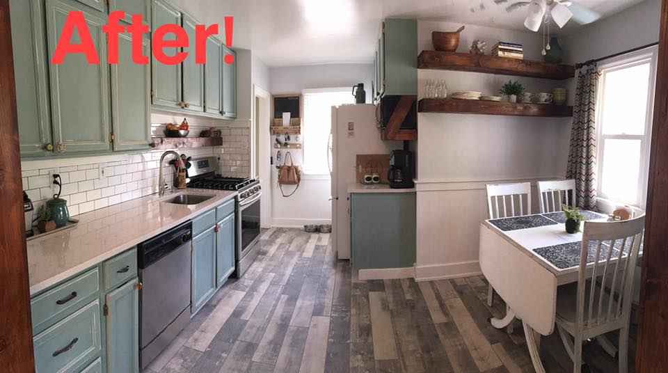 After kitchen has been updated: new flooring, quartz counter tops with undermounted sink, custom shelves, and subway tile backsplash.