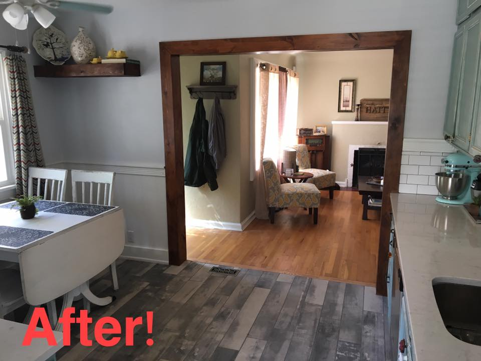 After picture of the doorway opened up over 3x the size, maximizing space and creating an open feeling to both rooms.
