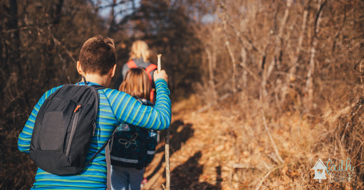 Family taking a hike for a spring field trip.