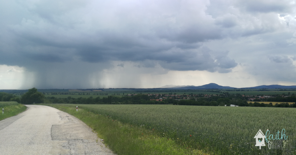 A summer storm in a country.