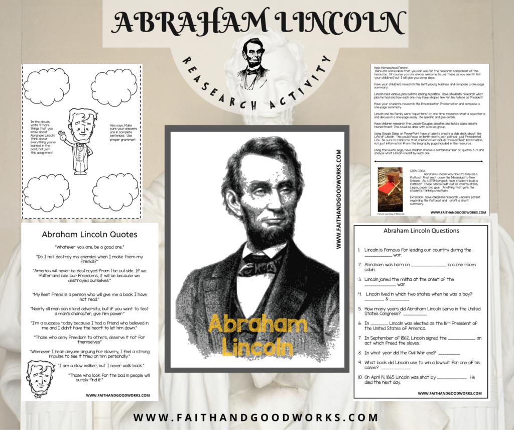 Pages included in the Abraham Lincoln research activity pack.