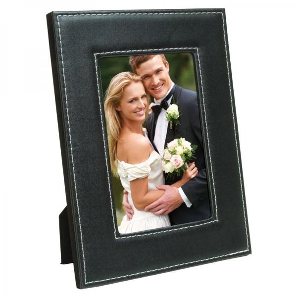 NE Black Stitched Leatherette Frame 6157verticalwedding.jpg