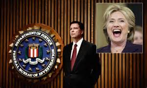 hillary laughing against comey backdrop