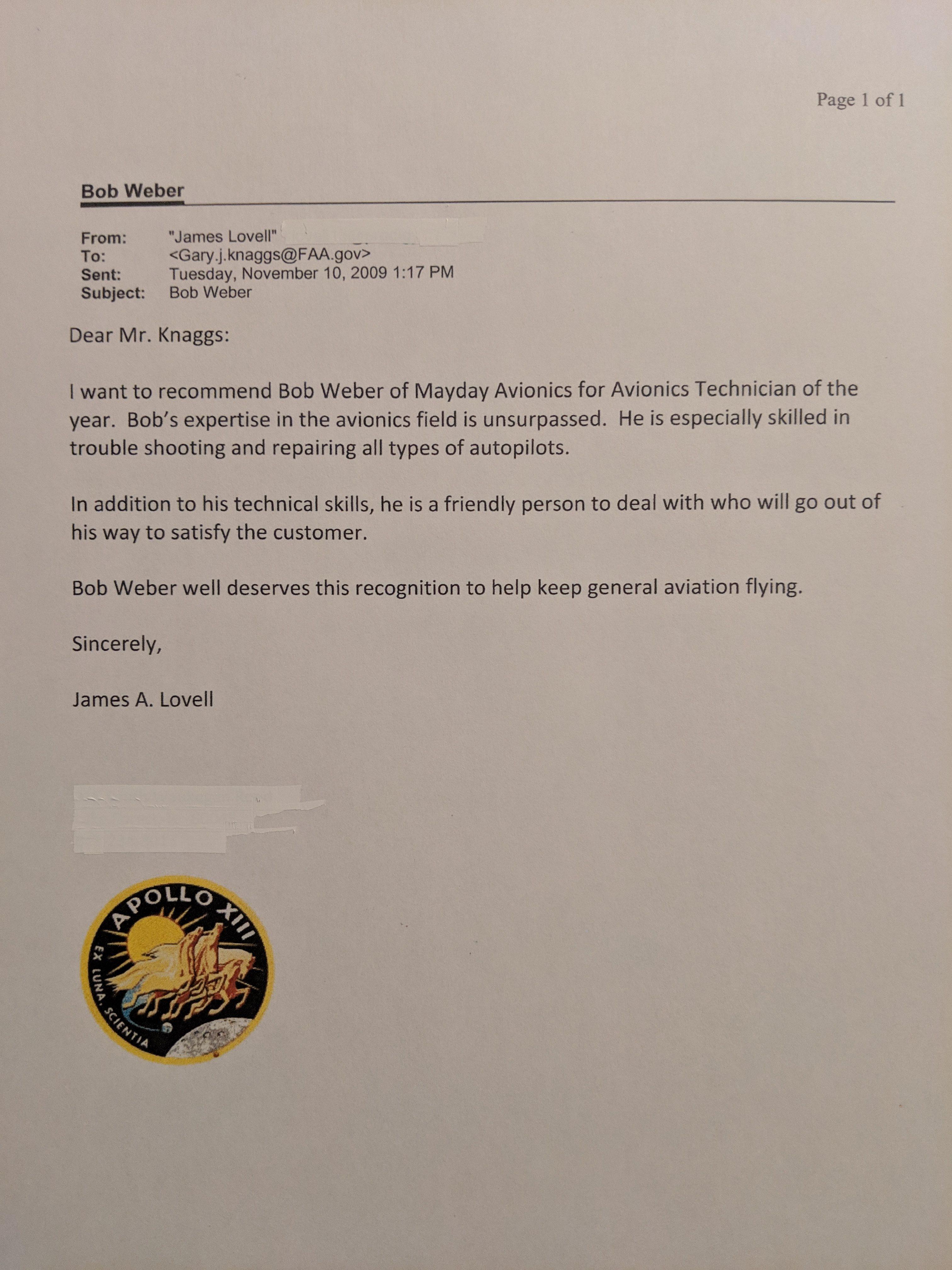 autopilot technician letter