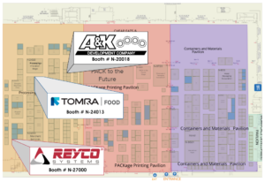 Floor Map for Pack Expo 2021 showing the booth locations for TOMRA, REYCO, and A&K.