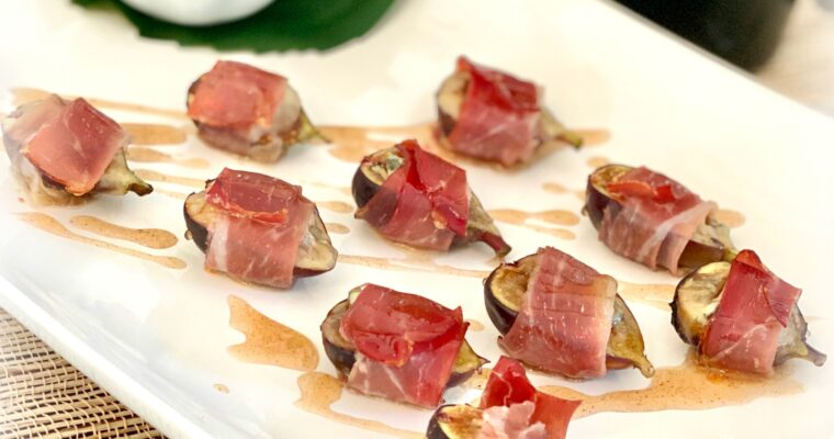 Prosciutto Wrapped Figs, Stuffed with Blue Cheese & Pumpkin Spice Honey