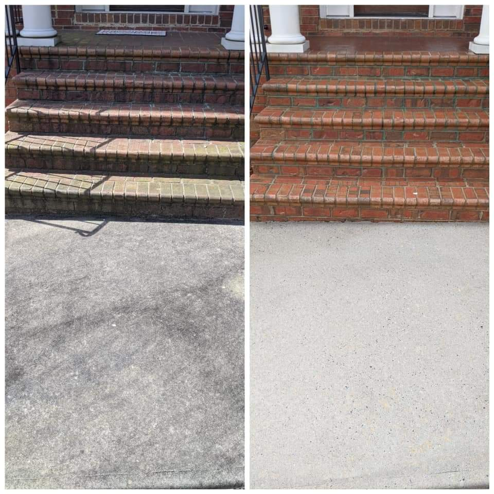Before and after image of concrete treated by Pristine Power washing services in New Baltimore
