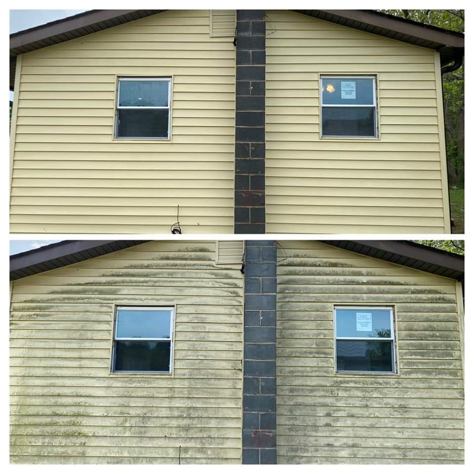 Before and after of a home that got cleaned by Pristine Power Washing in New Baltimore