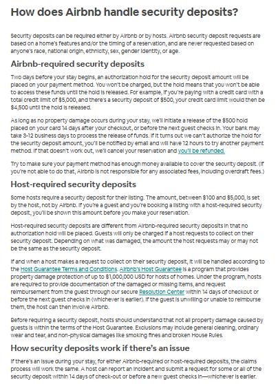 Airbnb Security Deposit