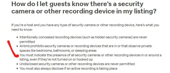 does airbnb have cameras