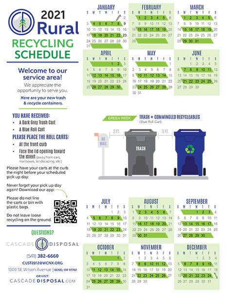 Cascade Disposal Rural calendar 2021
