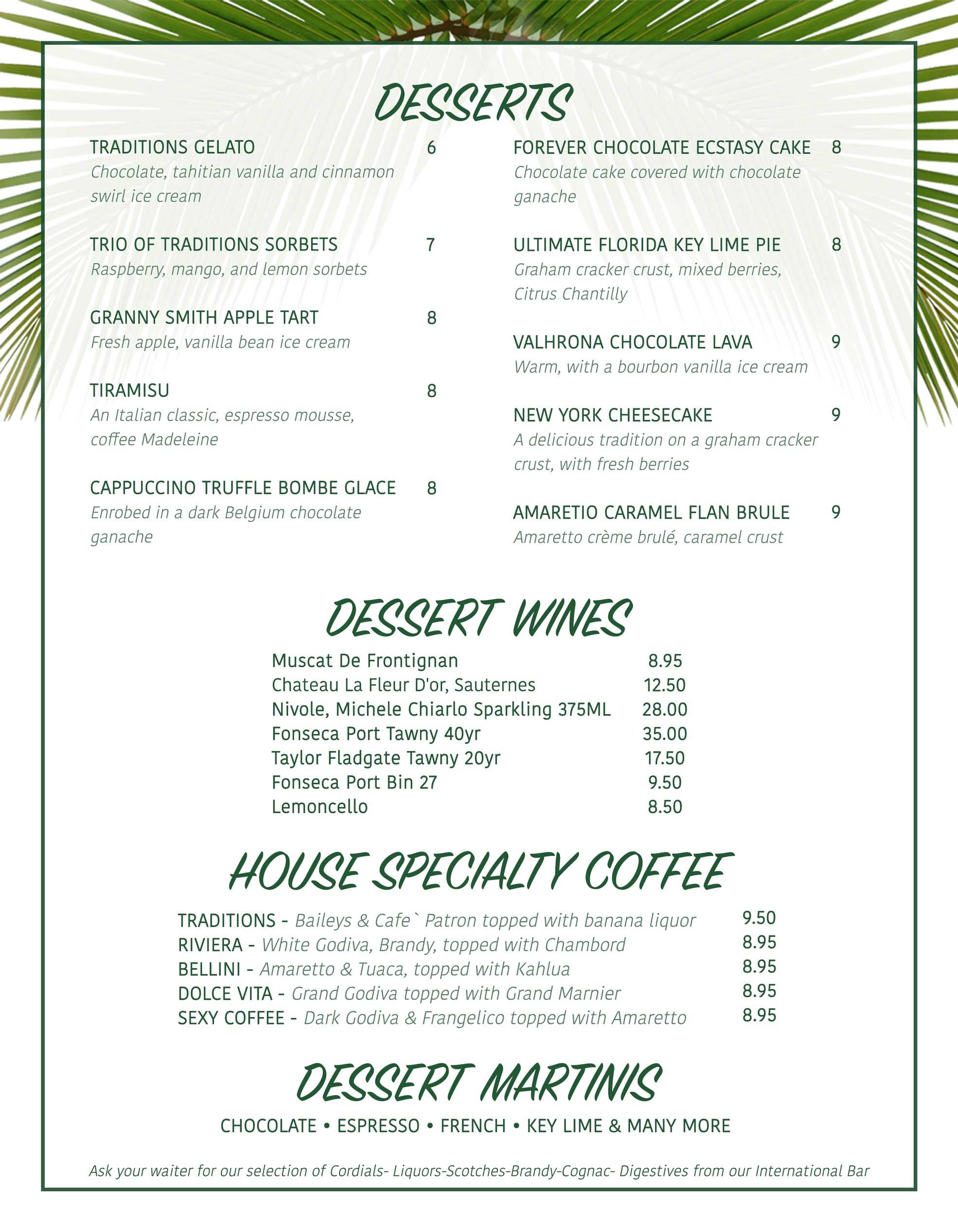 sanibel dessert menu