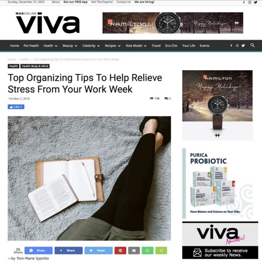 Viva Mag Online Article: Top Organizing Tips To Help Relieve Stress From Your Work Week