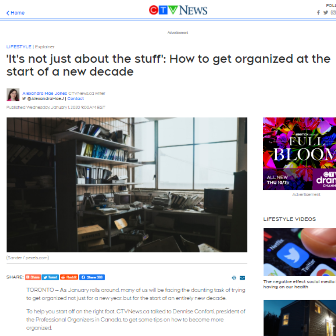 CTV News article: 'It's not just about the stuff': How to get organized at the start of a new decade.