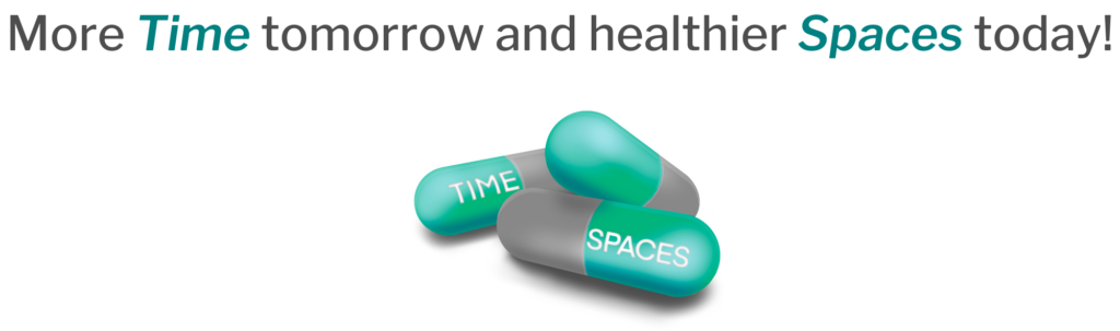 """Slogan that reads """"More Time tomorrow and healthier Spaces today!"""" with images of 3 pills, one says time, once says spaces."""