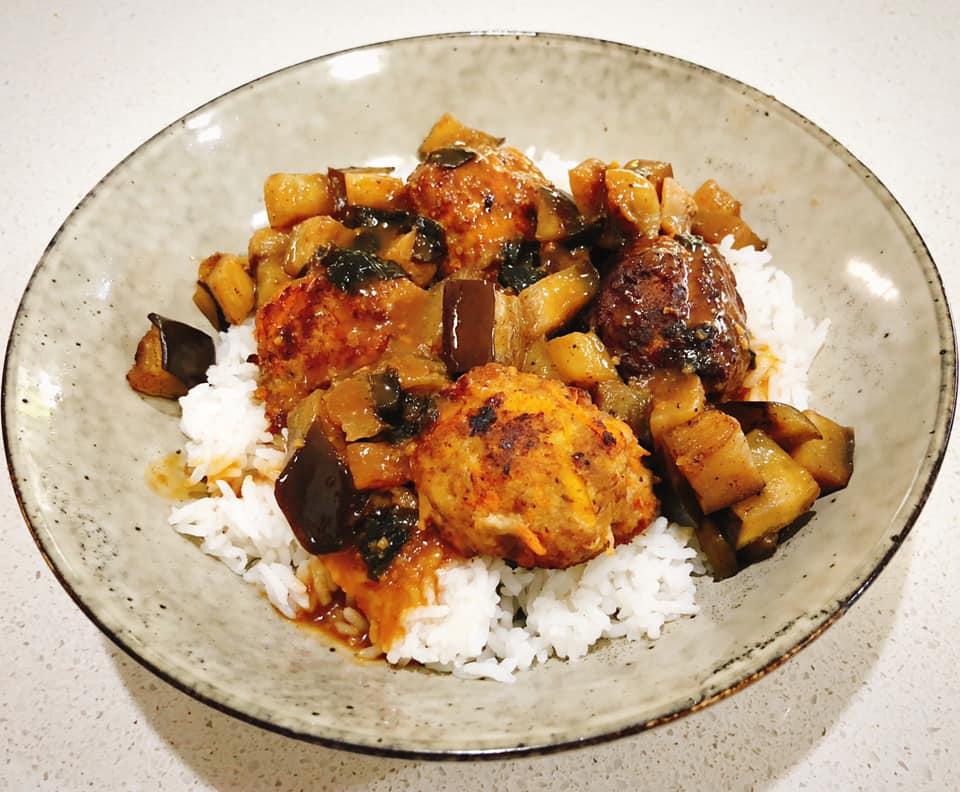 "Harinezumi (""hedgehog"" meatballs with eggplant and miso sauce)"