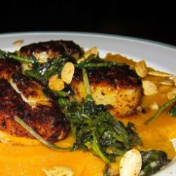 Seared Scallops with Winter Squash Purée and Sautéed Radish Greens