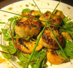 Scallop Salad with Grilled Peaches