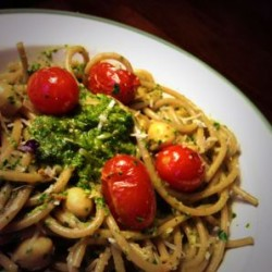 End-of-the-Week Pasta with Parsley-Pistachio Pesto, Garbanzos, and Blistered Cherry Tomatoes