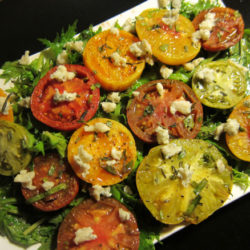 Roasted Heirloom Tomato Salad with Dijon-Dressed Mustard Greens and Gorgonzola