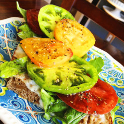 A Perfect Summer Sandwich: Heirloom Tomatoes with Garlic-Caper Aioli and Arugula