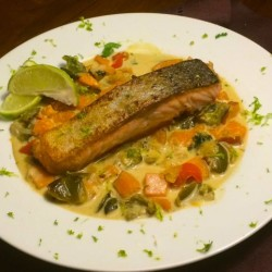 Salmon Green Curry with Sweet Potatoes: For Lent, or Anytime