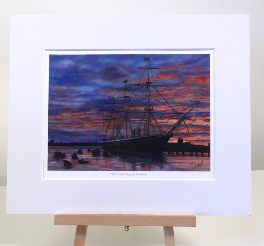 Sunset on Warrior HMS Warrior Historic Ship Art Print Gift Pankhurst Gallery