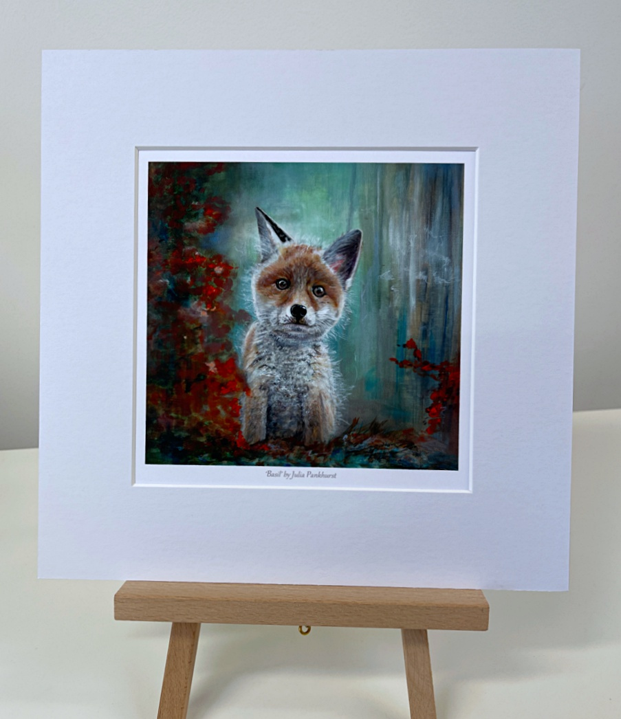 Basil Fox Cub Animal Art Gift Print Pankhurst Gallery