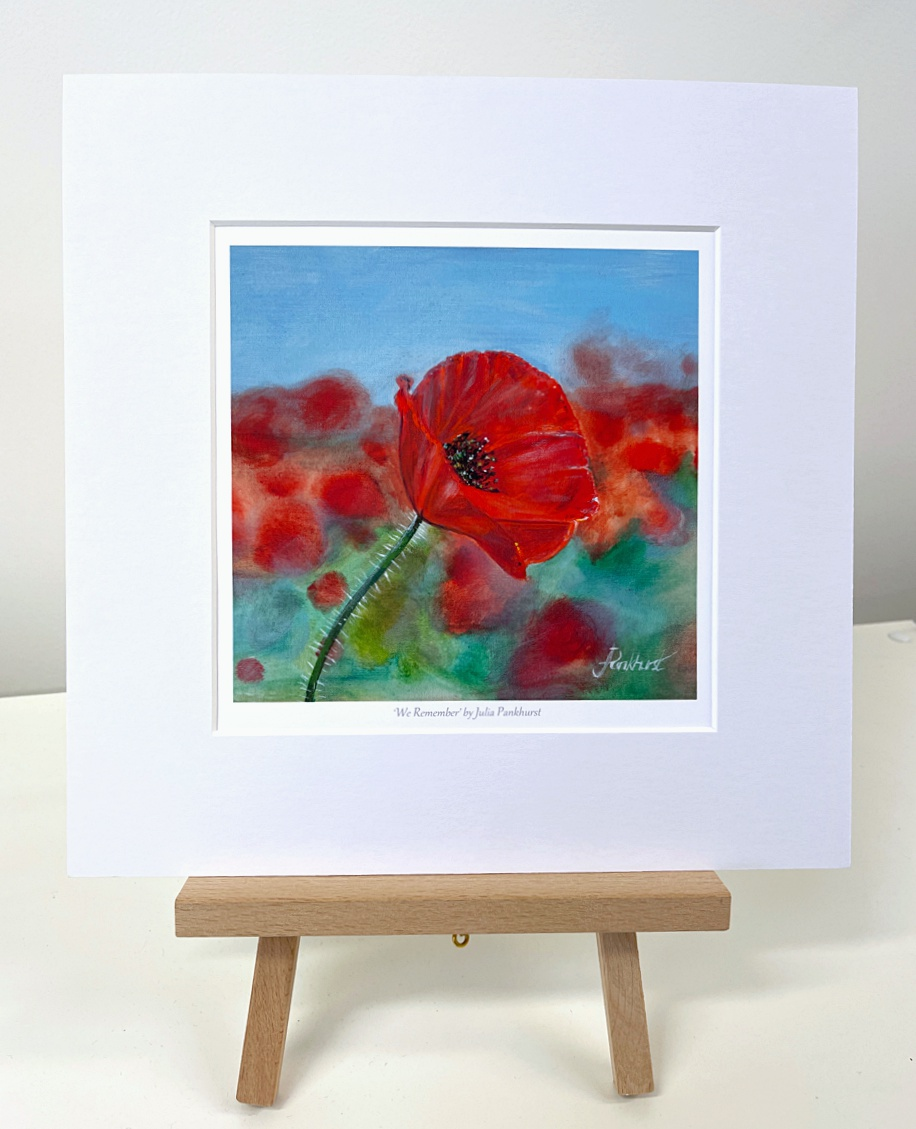 We Remember red poppy art gift print Pankhurst Gallery