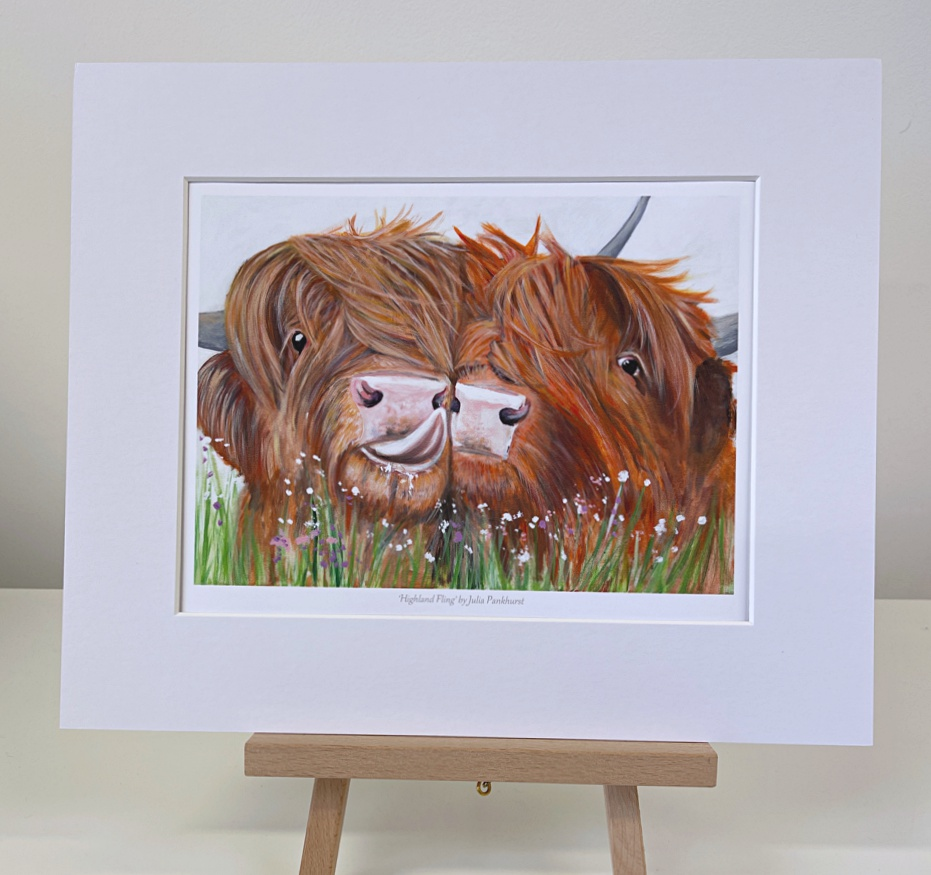 Highland fling Highland Cow mini Print Pankhurst Gallery