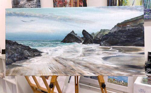 Kynance Cove Original Seascape Beach Painting Pankhurst Gallery