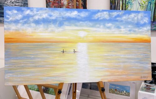 Paddle-Boarding seascape art gift painting Pankhurst Gallery