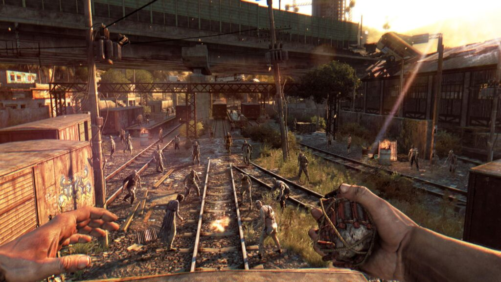 dying light zombies in a train yard zombie survival game