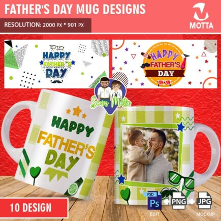 MUG SUBLIMATION TEMPLATE HAPPY FATHER'S DAY