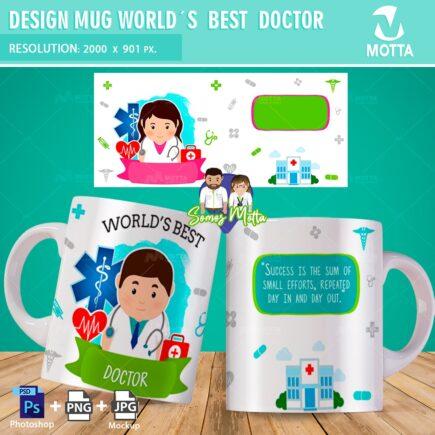 MUG SUBLIMATION TEMPLATE WORLD'S BEST DOCTOR