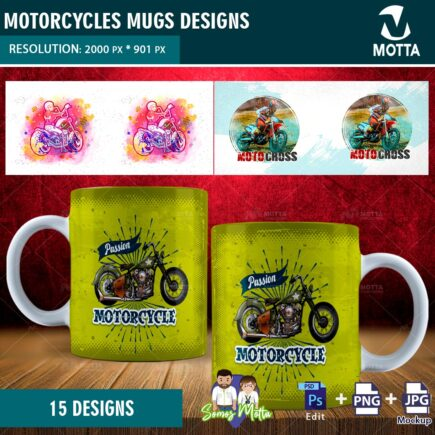 15 SUBLIMATION MOTORCYCLE MUGS DESIGNS