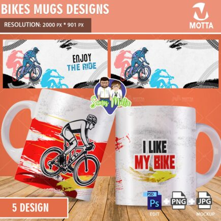 DESIGNS OF BICYCLE MUGS FOR SUBLIMATION