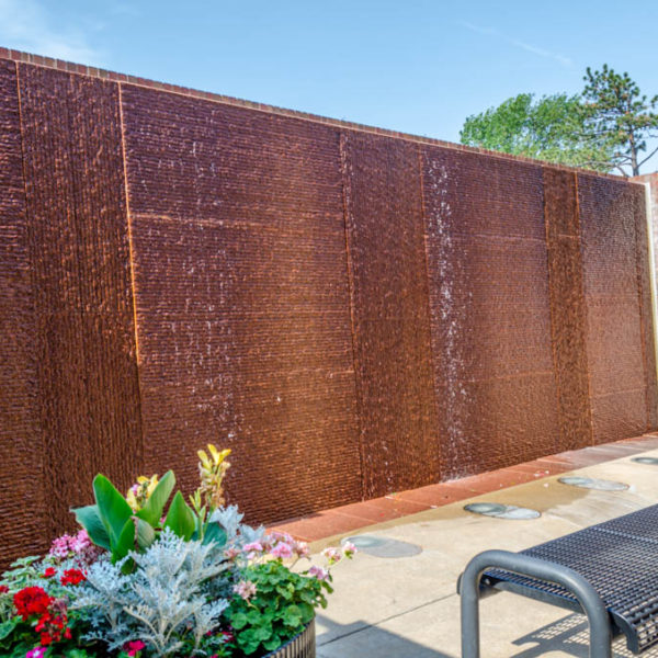 Fountain Wall - Wichita State University Campus, at the Ulrich Museum of Art - 1845 Fairmount - by Jesus Morales, 1995 - photo from 2013