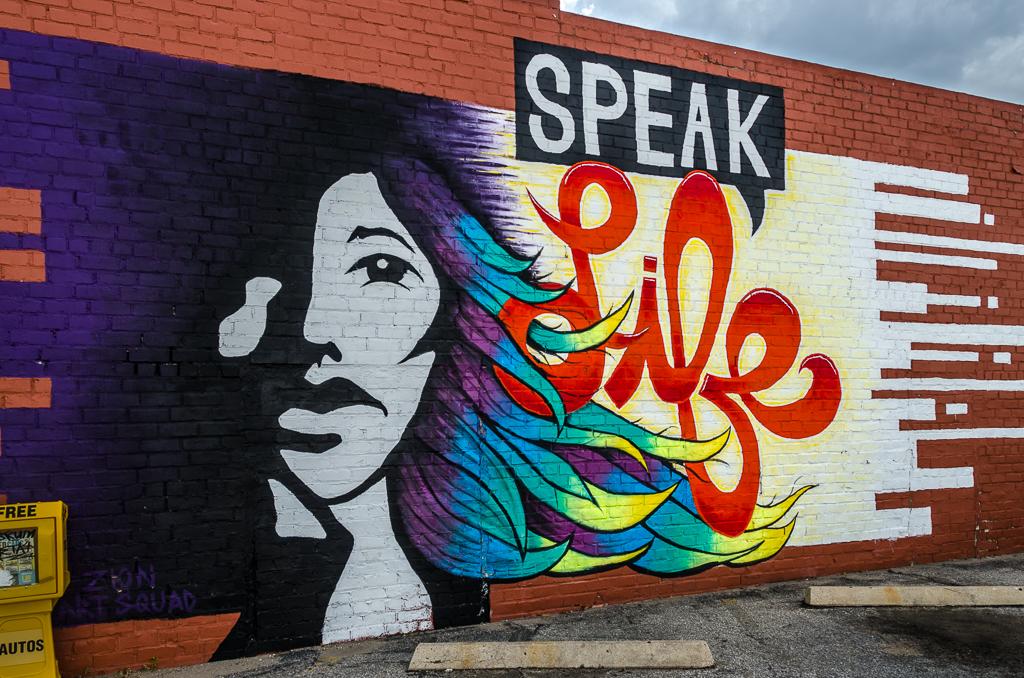Speak Life - 1722 E. Douglas - by Zion Art Squad - photo from 2016