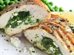 chicken stuffed with spinach, ricotta and feta cheese